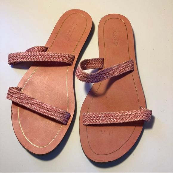 77289a4cd46 J.Crew pink woven slide sandals size 9 sale ❤️
